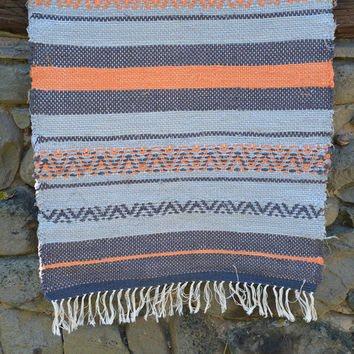 Striped cotton rug, striped grey and orange rug, cotton rag rug, grey and orange cotton rug