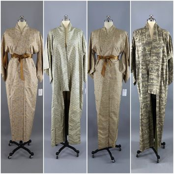Set of 4 Vintage Kimonos / Wholesale Lot / Tan Ikat Print
