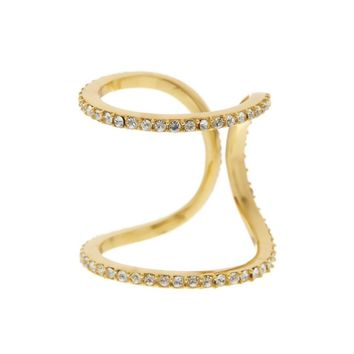 Louise et Cie Micro Pave Crystal Cutout Ring 14k Gold Plated Size 7