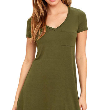 Army Green Casual V Neck Pocket Short Sleeve T-Shirt Dress