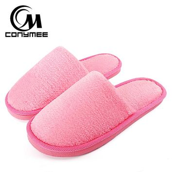 CONYMEE Home Slippers Women Winter Shoes Fluffy Slipper Candy Color Warm Plush Terlik Pantuflas Woman Indoor Cotton Shoe