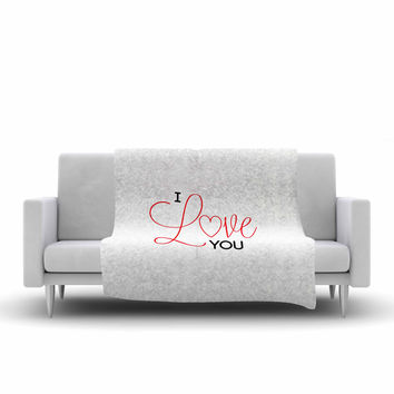 "NL Designs ""I Love You"" White Red Fleece Throw Blanket"