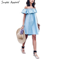Simplee Apparel Off shoulder 2016 denim dress shirt Sexy short baby blue dress Casual ruffles jeans dress summer style vestidos