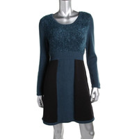 Style & Co. Womens Knit Colorblock Sweaterdress