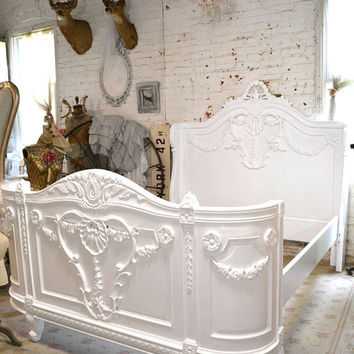 Painted Cottage Shabby French Bonaparte Romantic Bed QUEEN / KING BON20
