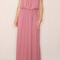 Mauve dress Long Bridesmaid dress Dusty rose maxi dress