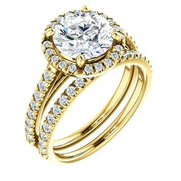 Round Moissanite Diamond Accent Ice Halo Cathedral Ring