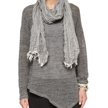 Organic Cotton Crinkle Striped Scarf, Size: ONE SIZE, silver - Eileen Fisher