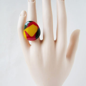 Abstract Rasta Colored Adjustable Ring, Unique Ring, Fused Glass Ring, Statement Ring, One Of A Kind Ring