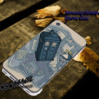 Doctor Who Meets Disney Tardis and Alice in Wonderland Cover iPhone 4 4S iPhone 5 5S 5C and Samsung Galaxy S3 S4 S5 Case