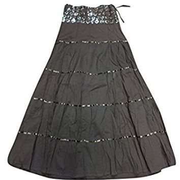 Mogul Womens Gothic Skirt Black Lacework A-line Flare Bohemian sexy Long Skirts
