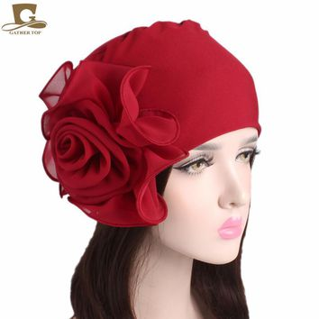 NEW Women King Flower Size Stretchy Beanie Turban Bonnet Chemo Cap For Hair Loss Muslim Bandana Islamic Hijab