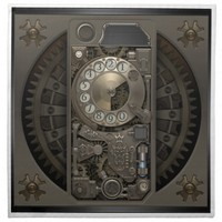 Steampunk Device - Rotary Dial Phone. Cloth Napkins