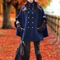 Women's delicate cloak cape coat autumn double breasted woolen winter coat wool coat blue coat BJ031