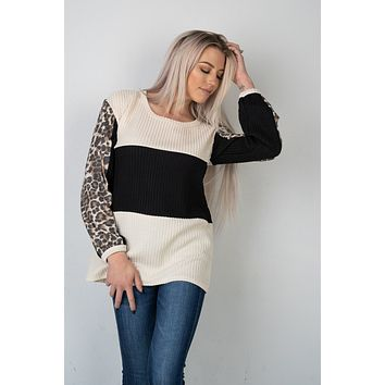 Oatmeal and Black Colorblock Top with Leopard (S-XL)