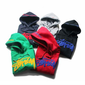 Stussy+Champion Long-Sleeved Hooded Embroidery Sweater