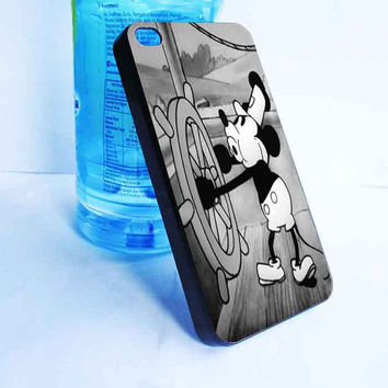 custom Mickey Mouse Retro Steam Boat Willie Cute for iphone 4,4s,5,5s,5c cover, samsung galaxy 3,4,5 cover and ipod touch 4,5 cover