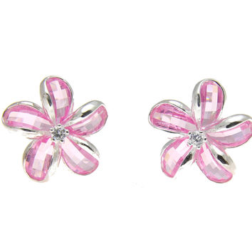 925 SILVER FACET PINK NATURAL CRYSTAL HAWAIIAN PLUMERIA FLOWER EARRINGS SILVER