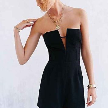 Silence + Noise Deep-Notch Strapless Romper- Black