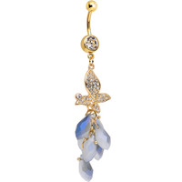 Clear Gem Gold Plated Raindrop Butterfly Dangle Belly Ring | Body Candy Body Jewelry
