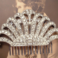 Vintage 1920s Art Deco Rhinestone Flapper Fan Bridal Hair Comb, Pave Crystal Silver Dress Clip to Headpiece Antique Great Gatsby Wedding