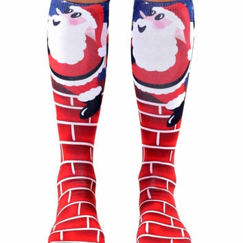 Santa Climbing Chimney Knee High Socks