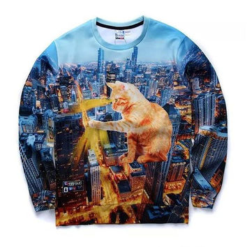 Kitty Zilla Crew Neck Sweatshirt Men & Women Godzilla Harajuku Style All Over Print Blue Sweater