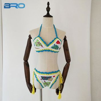 d37cd62ec6858 2 Two Piece Bikini BRO Knitted Crochet Bikinis Women 2018 Summer