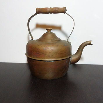 Vintage Old Dutch Solid Copper Tea Kettle/Tea Pot with a Wood Handle - Made in Portugal - For Rustic Kitchen Decor