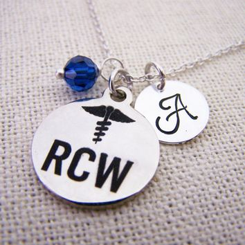 RCW Nurse - Nurse Necklace - Personalized Necklace - Initial Necklace - Swarovski Birthstone - Sterling Silver / Gift for Her