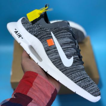 HCXX N515 Nike Air Zoom Off White Roshe Flyknit Mesh Sport Casual Shoes Grey