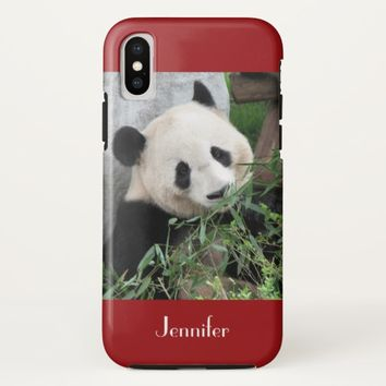 Cute Giant Panda, Dark Red, Custom with Name iPhone X Case