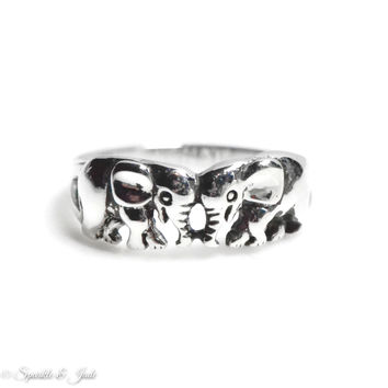 Sterling Silver Antiqued Double Elephant Ring