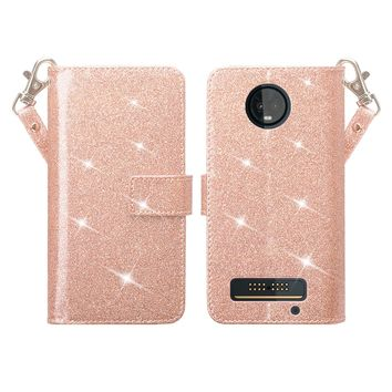Motorola Moto Z3 Play Case, [Wrist Strap] Glitter Faux Leather Flip [Kickstand Feature] Protective Wallet Case Cover Clutch - Rose Gold