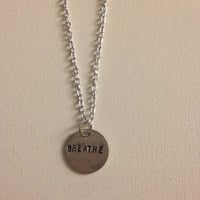Breathe hand stamped necklace
