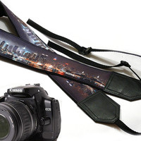 New York City camera strap.  New York Skyline Photography. DSLR Camera Strap. Camera accessories. Nikon  Canon camera strap.
