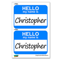 Christopher Hello My Name Is - Sheet of 2 Stickers