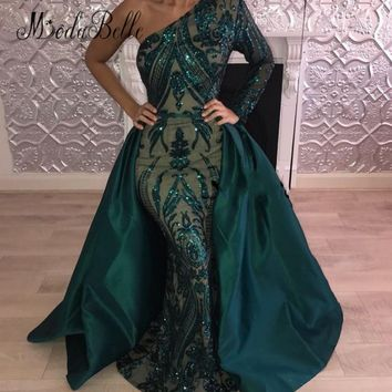 modabelle Sexy Sparkly Detachable Train Prom Dresses Sequin Gree 7c4a1ffb99ba