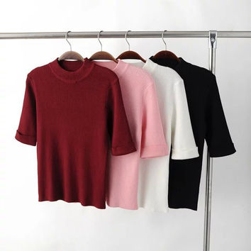 Fall Fashion Slim Knit Stylish Round-neck Short Sleeve Tops [9195538119]