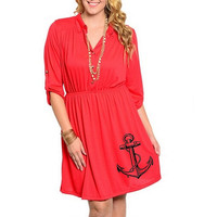 Anchor Dress Womens Plus Size Red Plus size dresses cute nautical tunic screen printed clothing pin up dress 2XL 3XL sizes