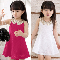 Baby Girls Kids Lace Sequin Dress Princess Sleeveless TuTu Skirt Sundress  7_S = 1917140804