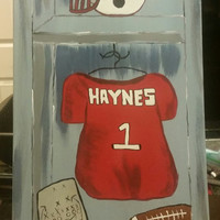 Hand painted wood framed canvas - custom order football locker