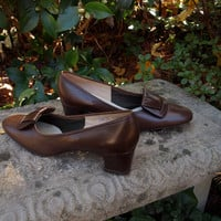 Brown Leather 60's Mad Men Secretary Red Cross Shoes