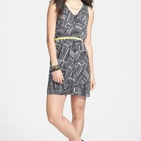 BeBop Contrast Trim Print Woven Dress (Juniors)