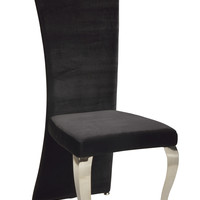 Black Transitional Rectangular High Back Side Chair (Set of 2)