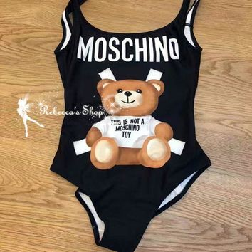 Moschino Fashion Women Beach Cute Bear Print Halter Vest Style One Piece Bikini Swimsuit Black I