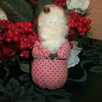 Red and White Fabric Santa Claus Christmas Decoration Hand Crafted Holiday Home Decor