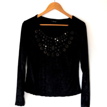 Black velvet top / embellished / bronze / copper / sequin / beaded / long sleeve / vintage / 90s / gothic / customized / unique reworked top