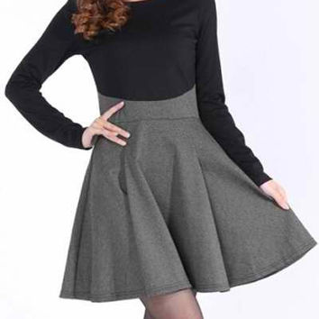 Color Block Long Sleeve Skater Dress