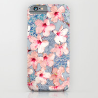 Shabby Chic Hibiscus Patchwork Pattern in Pink & Blue iPhone & iPod Case by Micklyn